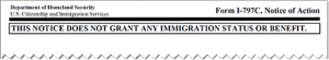 Form I-797C/, Notice of Action, USCIS notice of action